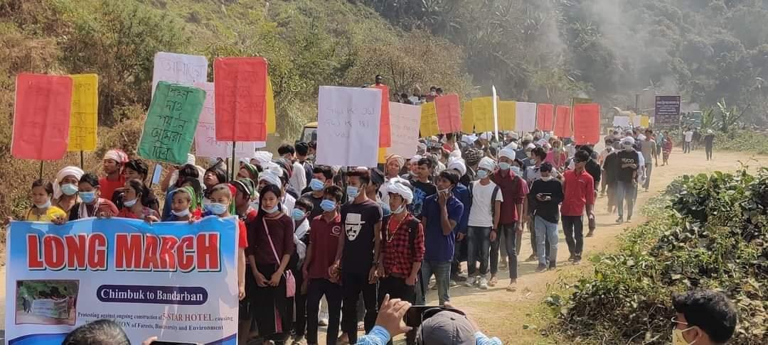 চিম্বুকে 'পাঁচতারা হোটেল প্রকল্প' বাতিলের দাবিতে লংমার্চ